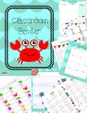 Classroom Binder-Teacher Planner, beach ocean theme