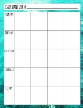 Ocean / Beach Editable Lesson Planner Binder 2018-19