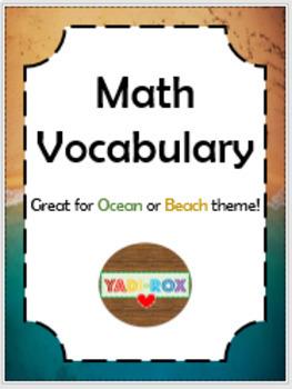 Ocean / Beach - MATH VOCABULARY