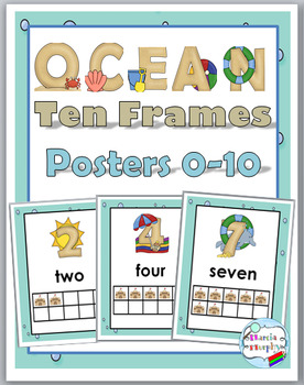 Ocean Theme Classroom Decor Number Posters 1-10 with Sand Castle Ten Frames
