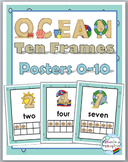 Ocean Theme Classroom Decor Ten Frame Number Posters 1-10