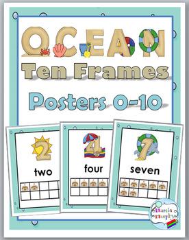 Ocean Theme Classroom Decor Ten Frame Number Posters 0-10
