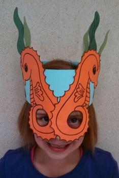 Ocean Beach Seahorse & Seaweed Sentence Strip Hat Mask
