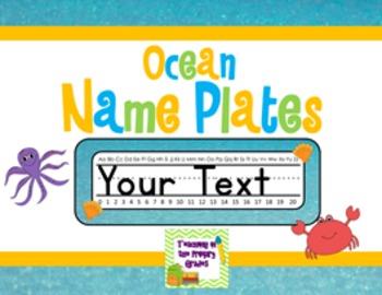 Ocean/ Beach Themed Name Plates (Editable)