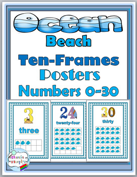 Ocean Theme Classroom Decor - Numbers 1-30 Posters with Ten Frames