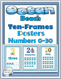 Ocean Theme Classroom Decor - Ten Frame Numbers Posters 1-30