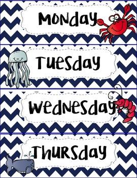 Ocean/ Beach themed calendar set (editable)