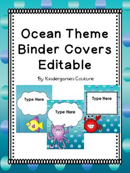 Ocean Binder Covers -Editable