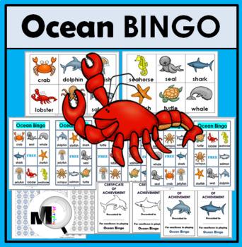 Ocean Animals Bingo Game - Ocean Literacy - Summer Activity