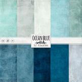 Ocean Blue Digital Paper, Solid, Textured Digital Card Sto