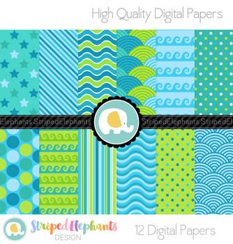 Ocean Blue Digital Papers