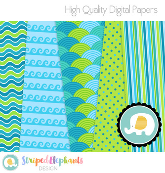 Ocean Blue Digital Papers
