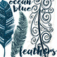 Ocean Blue Feather ClipArt, Tribal Design, Hand-Drawn, Commercial Use