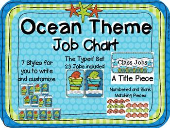 Ocean Blue Theme Job Chart Set
