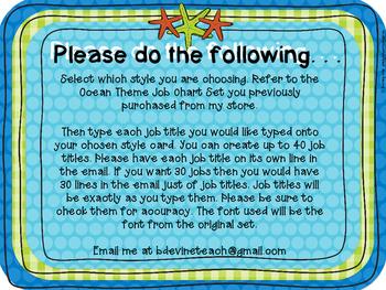 Ocean Blue Theme Job Chart Set CUSTOMIZED Add-On