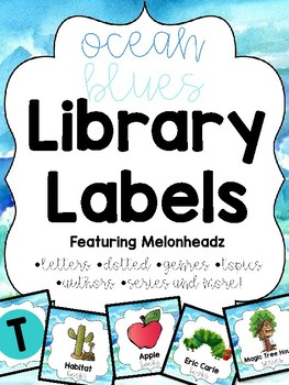 Ocean Blue Library Labels feat. Melonheadz w/ corresponding stickers