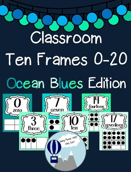 Ocean Blues Theme Classroom Ten Frames Posters 0-20