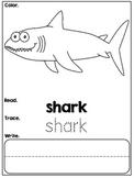 Kindergarten Ocean Emergent Reader - Read, Color, Trace