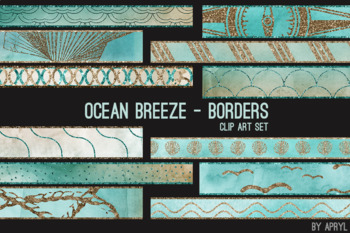 Ocean Breeze Art Border Clip Art 32 JPG Clip Art Strips 12in Glitter Foil