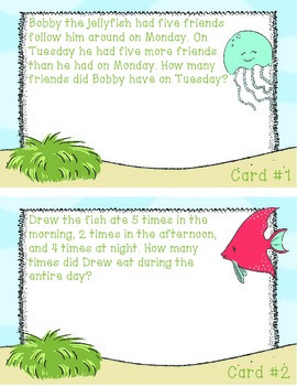 Ocean Buddies Themed Math Problem of the Day Packet- Spiral Review