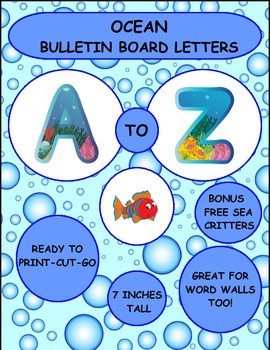 Ocean Bulletin Board Letters and Word Wall Letters Brightly Colored Bonus F