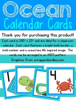 Ocean Calendar Cards