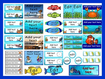 Ocean Calendar Set and Classroom Decorations {Editable}