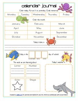 Ocean Calendar/Circle Time Journal Sheet