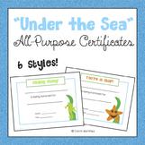 Ocean Certificates {Under the Sea}