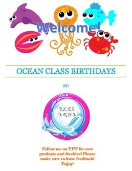 Ocean Class Birthday Labels