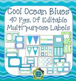 Ocean Colors EDITABLE Banner, Signs, Labels, Binder Covers, Word Wall