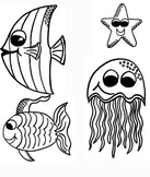 Ocean Clip Art- Blank and Editable