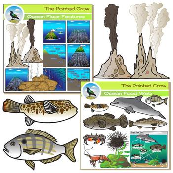 Ocean Clip Art Bundle - 122 graphics - Zones - Food Web - Tide Pool - Sea Floor