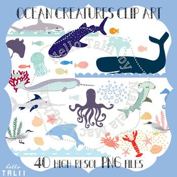FREE THIS WEEK! Ocean Clip Art- Sea Life Digital Clipart