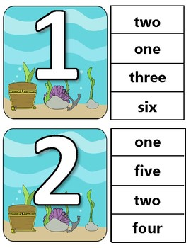 Ocean Clothespin Task Card Number Activity