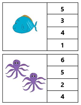 Clothespin Task Card Number Activity - Ocean Theme
