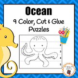 Ocean Color, Cut and Glue Puzzles
