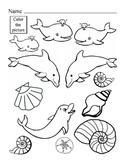 Ocean Color Dolphins Seashells Life Skills Art Fine Motor Skills Color Worksheet