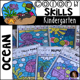 Ocean Color by Code Math and Literacy Skills for Kindergarten
