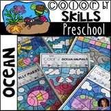Ocean Color by Code Math and Literacy Skills for Preschool