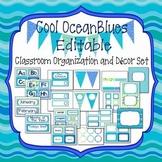 Ocean Colors Editable Organization & Decor Set (w/o clip art)