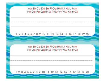Ocean Colors Editable Organization & Decor Set (w/o clip art)