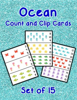 Ocean Count and Clip Cards 1-15