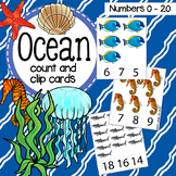 Ocean Count and Clip cards Numbers 0-20 plus worksheets