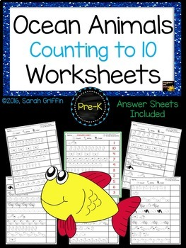 Numbers to 10 - Count, Write, Color - Ocean Math Worksheets
