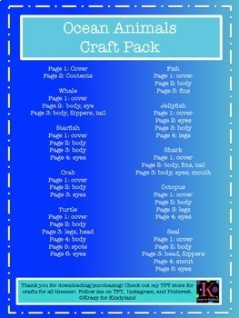 Ocean Crafts Value Pack:Whale,Turtle,Crab,Fish,Octopus,Seal,Shark,Jellyfish,Star