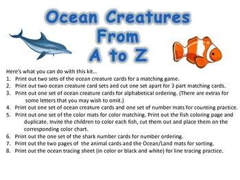 Ocean Creatures A to Z and More