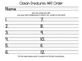Ocean Creatures ABC Order