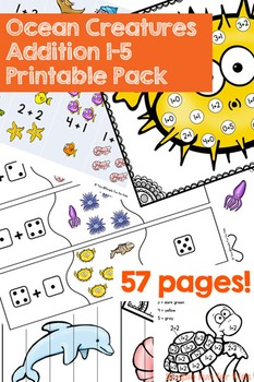 Ocean Creatures Addition Printable Pack