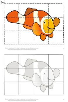 Ocean Animals, Puzzles, Kindergarten, Special Education ,Cut and Paste Puzzles